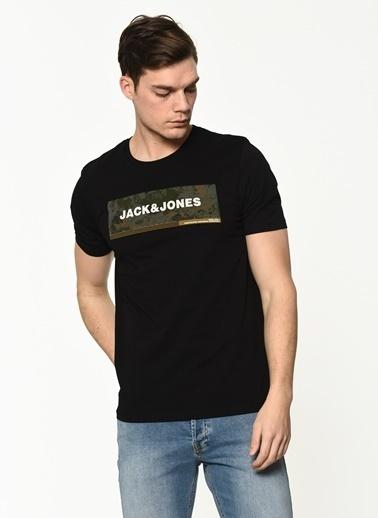 Jack & Jones Jack&Jones Erkek Baskılı Tişört 12188029 Siyah